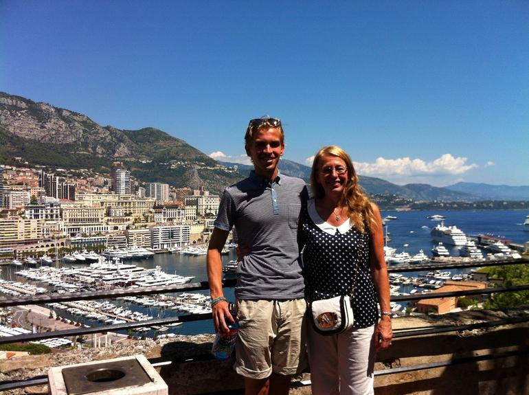 Elliot and Denise on a tour of Monaco over looking the bay near the Palace.