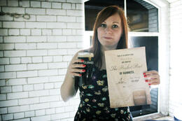 You can use your free pint token to pour a perfect pint or have a free pint at the Gravity Bar! We used our ticket upstairs so had to pay about €5 for another pint and certificate. , Rosie W - June 2013