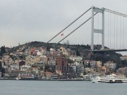 Beautiful view of the bridge and city from the Bosphorus Cruise boat. , James H - March 2015