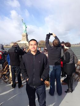 In front of the statue , Yifan D - December 2013