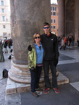 My Grandson and I outside the Pantheon. , MS shepherd - January 2012