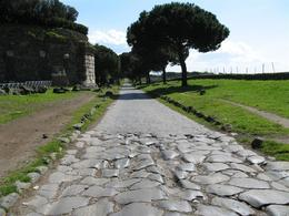 This is a photo at our stop on the Appian Way. It shows both the old Roman paving stones and newer paving stones., Gail A - March 2009