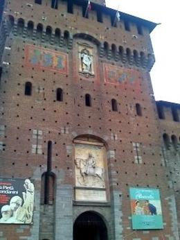 Outside the entrance to the Castle, Milan, Alison O - October 2009