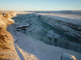 The outstanding beauty of the waterfall Gulfoss in winter , tonnic - January 2011