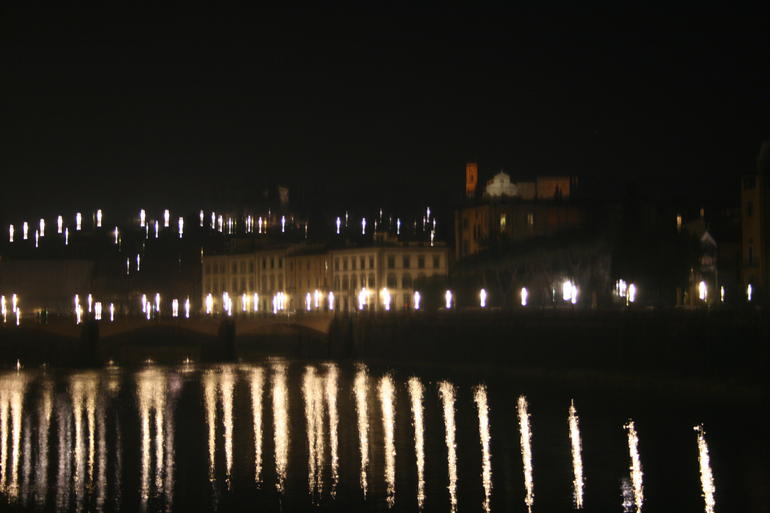 Bridge and River at Night - Florence