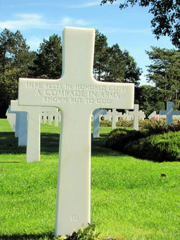 Cross of unkown soldier at American Cemetery, Normandy, France , Ellen W - September 2013