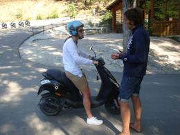 Learning to drive the Vespa. I decided afterwards I'd rather be a passenger, Christopher F - September 2010