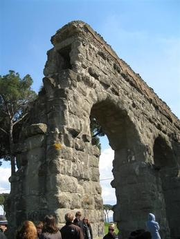 A broken end of an ancient Roman aqueduct showing the internal structure., Gail A - March 2009
