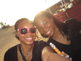My sister and I enjoying shisha during the Desert Safari!!! , Akeia M - April 2014