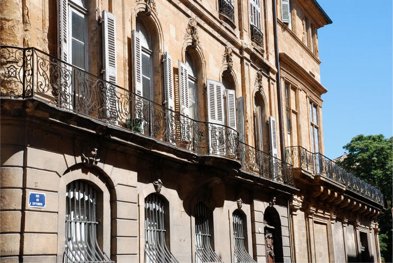Historical buildings in the city Aix-en-Provence the south of France - Marseille