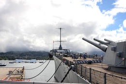 The USS Missouri stands guard over the USS Arizona- very touching and an honor to have seen. , ochaps - August 2013