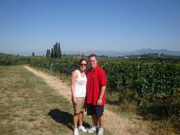 Photo of Florence Vespa Small Group Day Trip to the Chianti Wine Region Overlooking the vineyard
