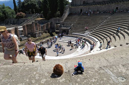 Our travel companions - Puke and Harold looking into the theatre , Peter K - June 2016