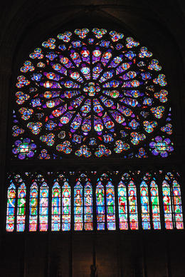 One of the two reknown stained glass windows of the cathedral during the tour. , Jeff & Kathy - July 2012