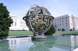 Photo of   Armillary Sphere in front of the Palace of United Nations in Geneva