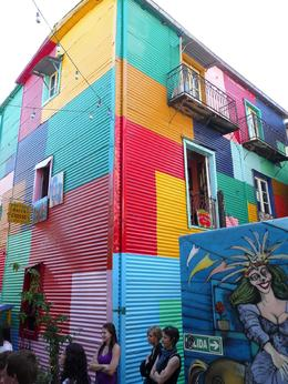 One of the colorful buildings in La Boca during our bike tour., Jeremy W - April 2010