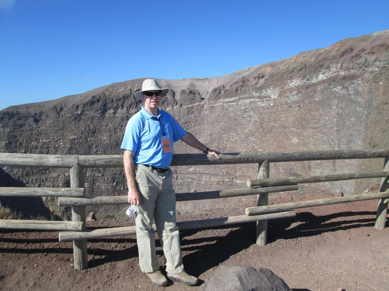 My hubby Jeff alongside the crater. - Naples