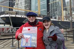 This is my niece Hannah with our guide Dave just after the Zephyr boat tour past the Brooklyn Bridge out to the Statue of Liberty. , Patricia A D - April 2014