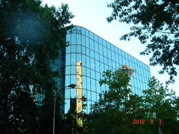 Photo of   Glass reflection of Space Needle !!