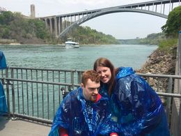 Jackie Sproul and friend posing in front of Rainbow Bridge and the Maid of the Mist boat , jackie - May 2016