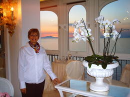 In the dining room in hotel, with view of sunset , James B - April 2013