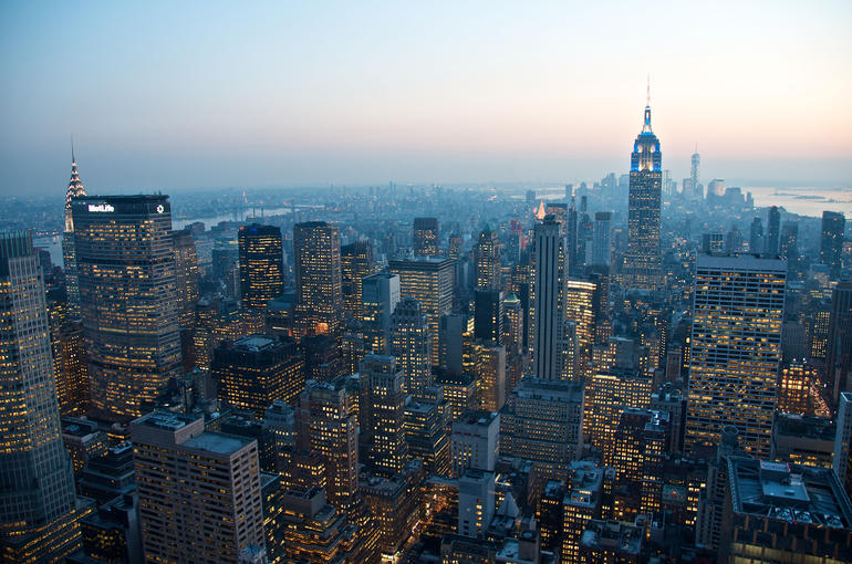 Sunset View of NYC from Top of the Rock - New York City