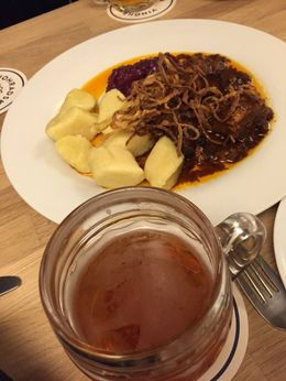 Traditional Czech starters that go with beer: Pork in beer sauce, Red cabbage sauerkraut and potato dumplings. , Ash - May 2015