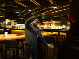 Photo of Barcelona Tapas Evening Walking Tour of Barcelona demonstrating pouring the cider