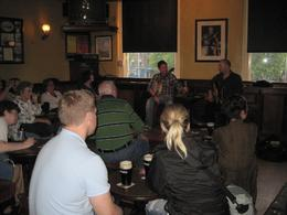Musicians on the Irish music pub crawl - a view at one of the pubs we visited with the musicians in the front, Sara T - July 2010
