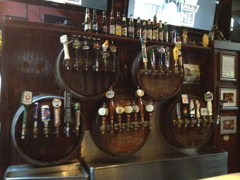 A wide array of beer taps