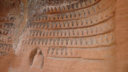 Photo of Chengdu Private Tour: Day Trip to the Leshan Grand Buddha from Chengdu Carvings on the side of the trail