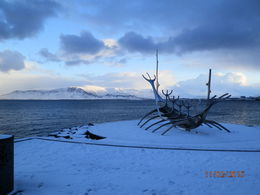 Beautiful scenery at every stop - this sculpture in Rekjavik harbour look different everytime we saw it! , Kym B - February 2015