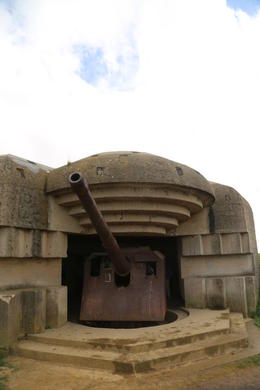 The battery at Longues-sur-Mer. These guns were knocked out by Navy shelling during the D-Day invasion. , John C - September 2012