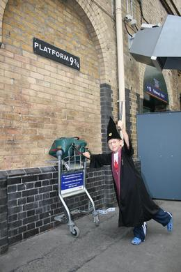 Jamie arriving at Kings Cross Station - Platform 9 3/4 on his way to catch the Hogwarts Express., Sandra S - August 2008
