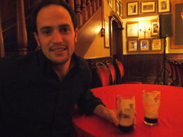 Enjoying Guinness during the Dublin traditional Irish house party, Rachel - March 2014