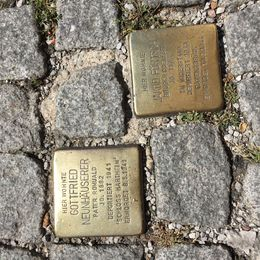 memorial markers in the cobblestone , Valerie D - September 2015