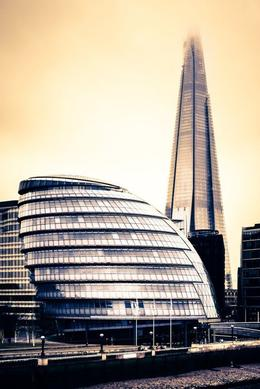 A view of The Shard next to the Gherkin building. - July 2012