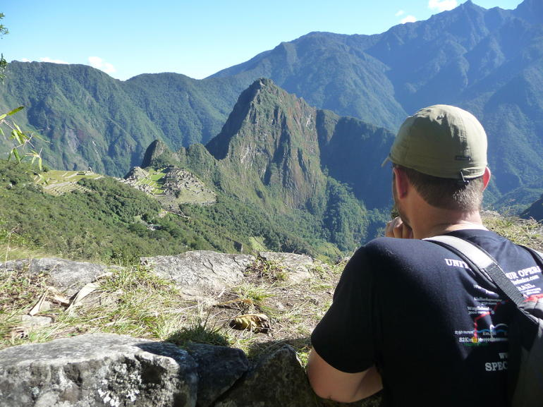 Admiring the ruins from the trail to the Sun Gate - Cusco