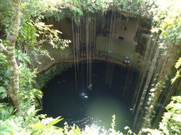Looking down into the cenote when first getting there - June 2011