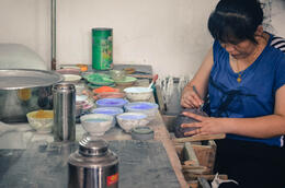 A little glimpse of how the beautiful enamel pots are made. , Jessie - August 2014
