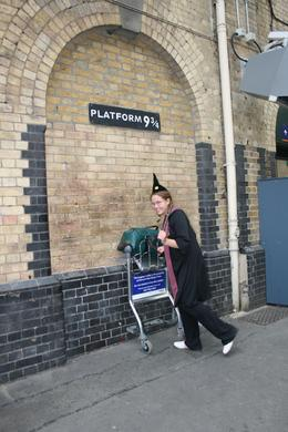 Jodey arriving at Kings Cross Station - Platform 9 3/4 on her way to catch the Hogwarts Express., Sandra S - August 2008