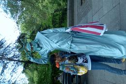 Me posing with the statue of liberty guy! heh , Jasmine H - February 2011