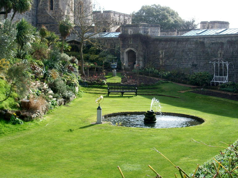 Windsor Castle Gardens - Beautiful garden area beneath the central tower at Windsor Castle.  Area was meant to be for a moat but was never actually used for water because the ground was too porous.  Photo by Forrest Y, March, 2011