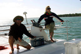 Photo of Key West Shipwreck Snorkel and Wild Dolphin Encounter Captain Noah and Tess sailing the Echo