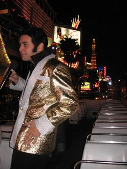 Elvis entertaining the crowds down the Strip., Eric G - April 2008