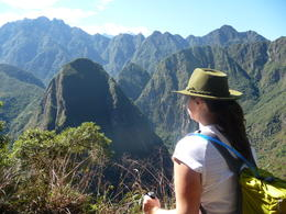 Taking in the view of the surrounding mountains, Trina Tron - July 2013