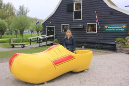 Photo of Amsterdam Zaanse Schans Windmills, Marken and Volendam Half-Day Trip from Amsterdam Giant clog!