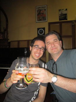 Father and Son share a pint. Notice how his glass is much larger than mine. , Steven G - May 2011