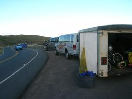 Photo of Maui Maui Downhill Bike Ride van and bike trailer at starting point