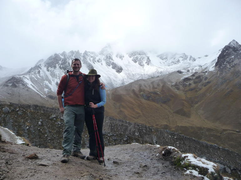 Winded but smiling at the top of the switchbacks - Cusco